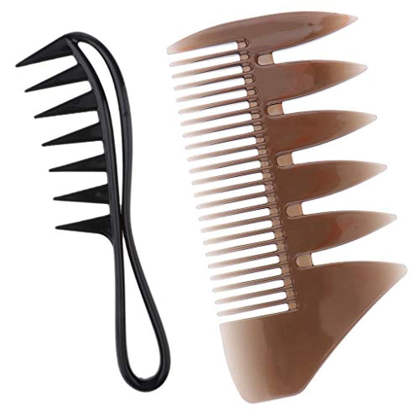 溶接損なう電話男性 髪ピックくし 染色 ヘアスタイリング櫛 広い歯 コーム 2個