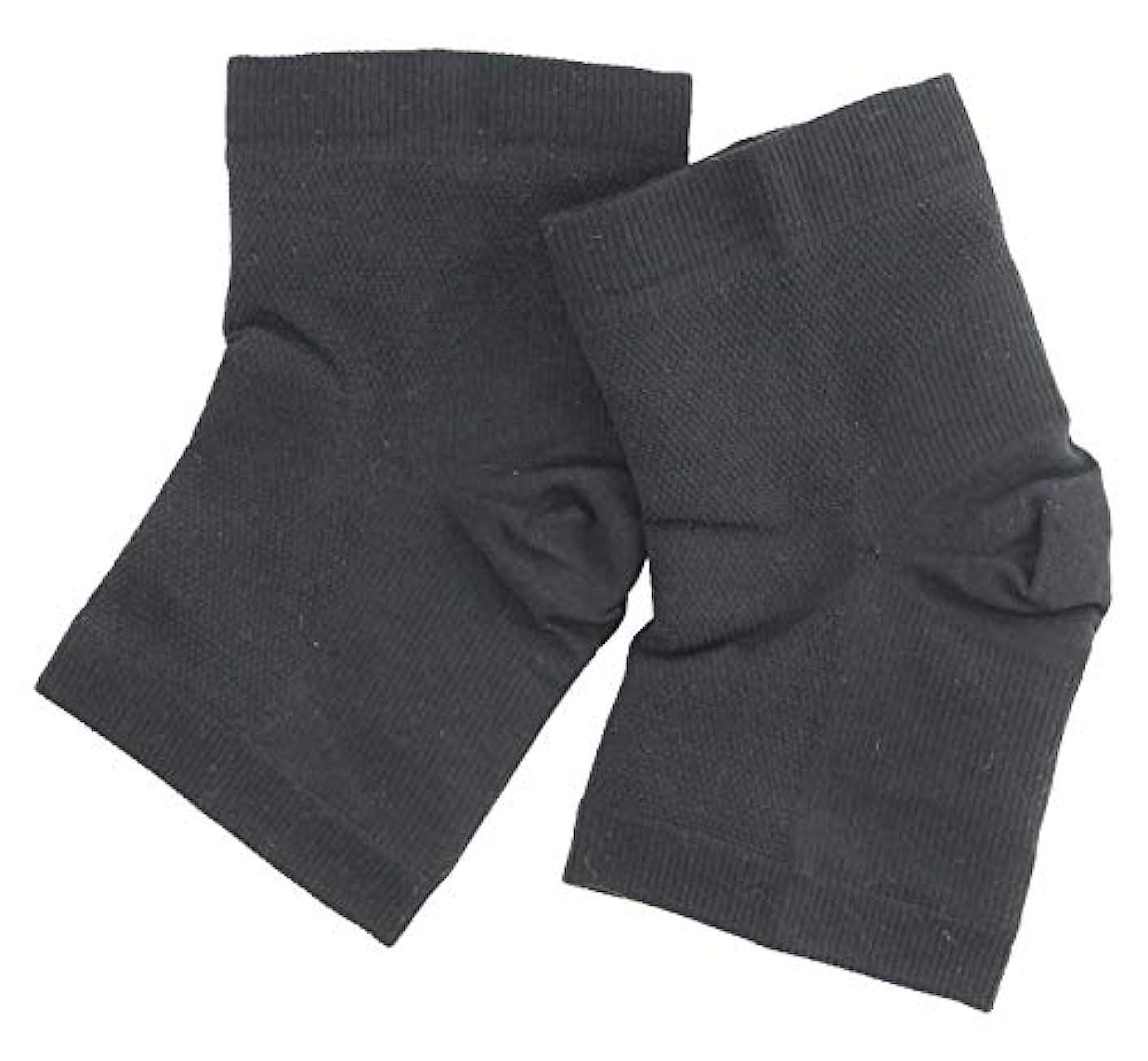 ジェットエレクトロニック応援する温むすび かかとケア靴下 【足うら美人潤いサポーター  フリー(男女兼用) クロ】 ひび割れ ケア
