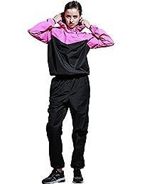 NANDI サウナスーツレディースセット トレーニングヨガウエア 発汗ウエア2点セット スポーツランニングウエア ダイエットウェア
