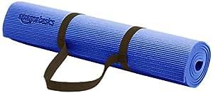 Amazonベーシック ヨガマット 厚さ6ミリ キャリーストラップ付きで持ち運びに便利 ブルー