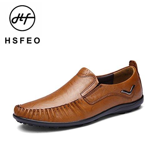 [QIFENGDIANZI]ドライビングシューズ メンズ スリッポン ローファー オールシーズン用 おしゃれ 革靴 紳士靴 軽量 通気性 コンフォート ブラウン  25.5cm