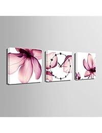 アート時計(透明な蓮の花)でキャンバス壁時計芸術と油絵の壁の芸術の絵画新築祝い 結婚祝い油画 風景画 壁掛け- モダン 置き時計 掛け時計 壁飾り写真(E-HOME)(60CM*60CM)