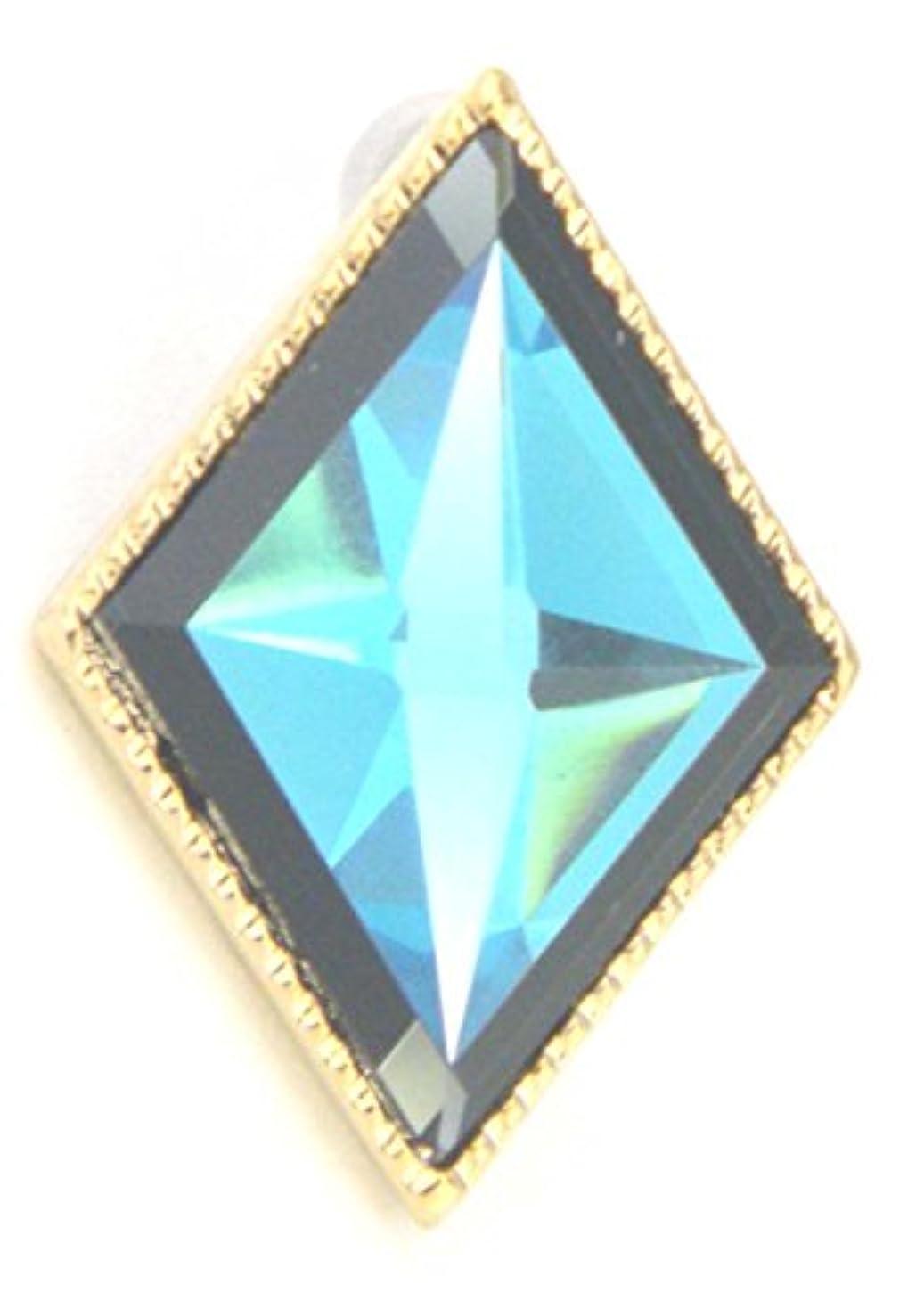 スキャンダラス大西洋注釈を付けるストーンピアス ダイヤ型四角片耳エメラルドブルー/男女兼用ヒップホップ 黒人ファッション