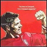 スティーブン・ジェラード リバプールFC デザインE 海外サッカーグラフィックアートパネル 木製 壁掛け インテリア ポスター (26*26cm アートパネルのみ)
