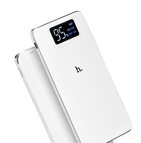 TSUNEO 10000mAh 軽量 薄型 大容量 2ポート 2台同時充電 2.1A モバイルバッテリー iphone スマホ 充電器 LEDライト付き ・白 防災グッズ iPhone6 iPhone6s Plus iPhone5 Xperia Galaxy AQUOS バッテリー 急速充電器 白/黒 選択可 (ホワイト)
