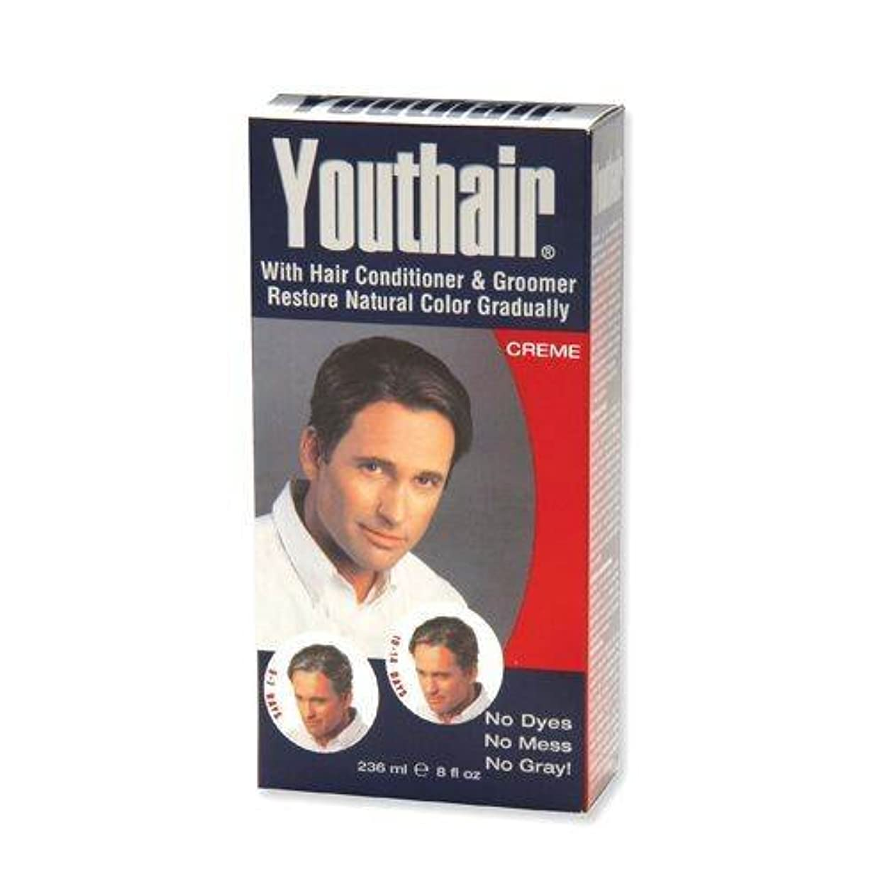 悲観的露恥YOUTHAIR Creme for Men with Hair Conditioner & Groomer Restore Natural Color Gradually 8oz/236ml by Youthair
