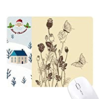 薔薇と蝶の花の植物の葉 サンタクロース家屋ゴムのマウスパッド