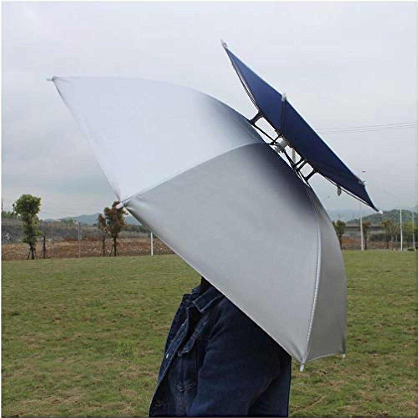 突然服を片付ける奇跡(Silver/ Blue) - Luwint 90cm Diameter Double Layer Folding Compact UV Wind Protection Umbrella Hat