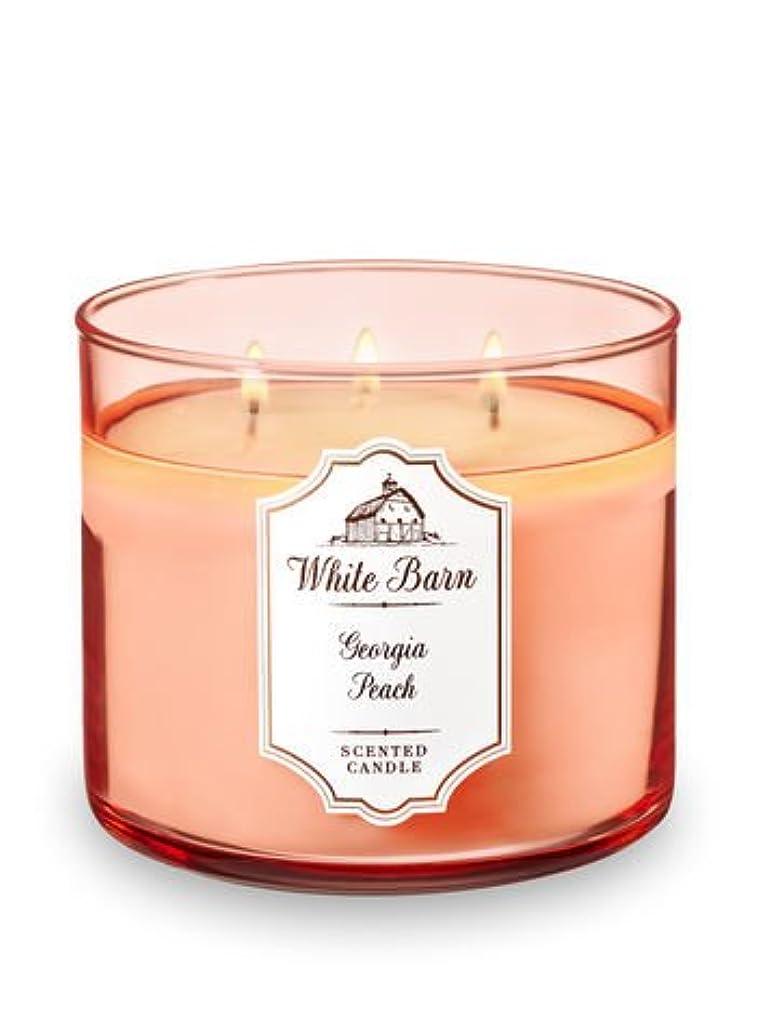 フレキシブル飛行場騒Bath and Body Works 3 Wick Scented Candle Georgia Peach 14.5オンス