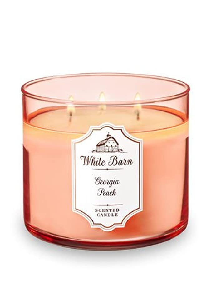 忘れっぽいブラシ鋼Bath and Body Works 3 Wick Scented Candle Georgia Peach 14.5オンス