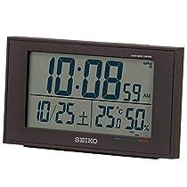 セイコークロック 置き時計 黒 本体サイズ:8.5×14.8×5.3cm 電波 デジタル カレンダー 快適度 温度 湿度 表示 BC402K