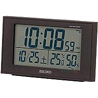 セイコークロック 置き時計 黒 本体サイズ:8.5×14.8×5.3cm 電波 デジタル カレンダー 快適度 温度 湿度 BC402K