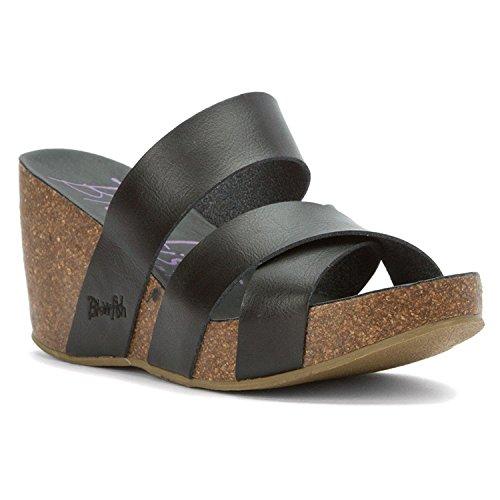 Blowfish Women's Hiro Wedge Sandal Black Dyecut Polyurethane 11 M US [並行輸入品]