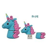 カラフルなかわいい馬USB2.0フラッシュドライブメモリースティックペンドライブUディスクペンドライブメモリースティック用ラップトップノートブック(ユニコーンブルー64G)