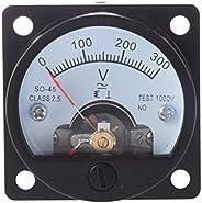 Iycorish AC 0-300V Round Analog Dial Panel Meter Voltmeter Gauge Black