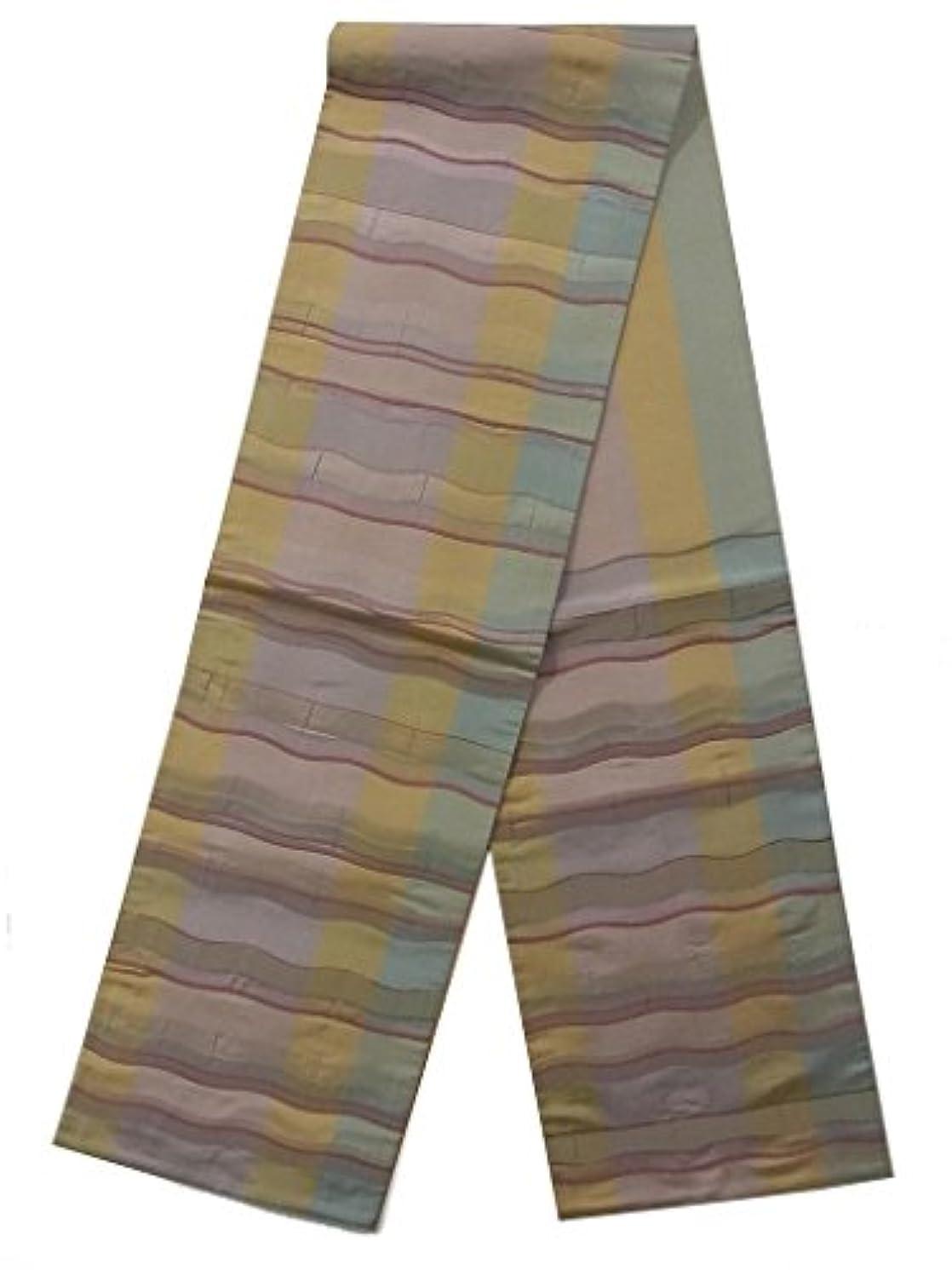 ナラーバー災害破裂リサイクル 袋帯  よろけ縞模様 正絹 六通柄