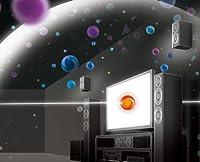 <シネマDSP〈3Dモード〉音場概念図>オレンジの球体は直線音、他の球体は高さ方向や奥行きまで制御した反射音の分布図を表しています。
