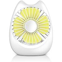 卓上扇風機 ZNT 萌えニャンコ扇風機 小型 4000mAh大容量 USB扇風機 掃除可能 OFF機能 角度可変 リズム風 3段階 静音 ホワイト
