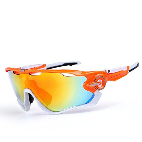OBAOLAY 自転車 防 ミスト 偏光レンズ スポーツサングラス,オレンジ