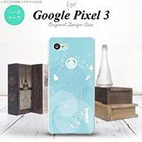 Google Pixel 3 スマホケース カバー バタフライ・蝶(A) 青 ブルー 【対応機種:Google Pixel 3】【アルファベット [P]】