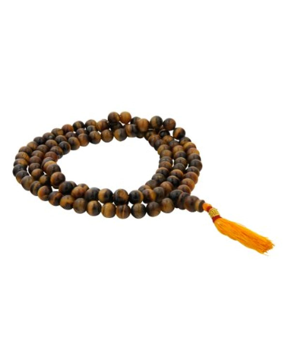 ふくろうほとんどの場合膨らみ108 Tiger Eyeビーズ瞑想Japa Mala (ロザリオ)