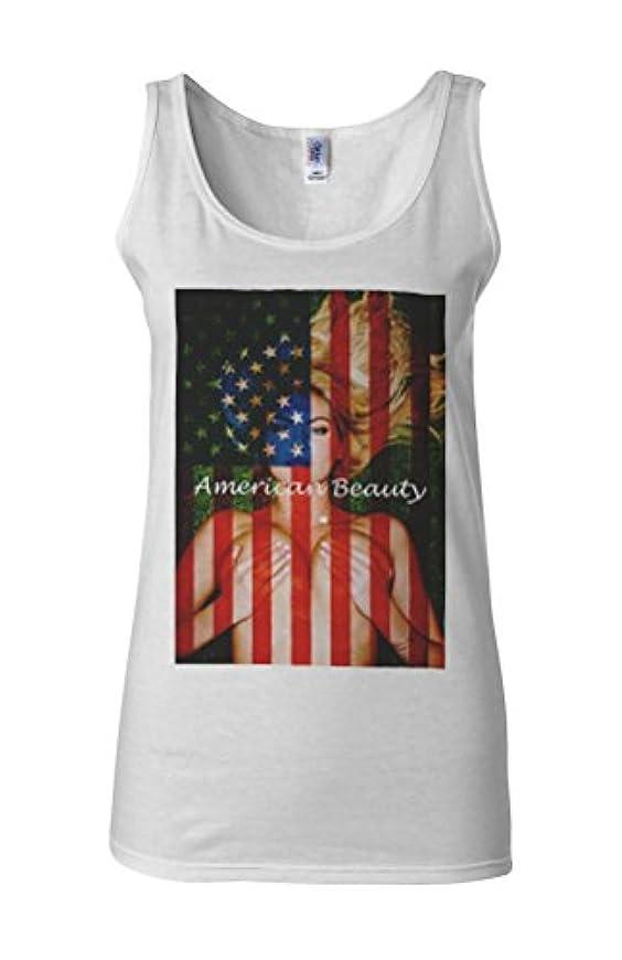 松下に向けます笑いGirl American Flag Beauty Novelty White Women Vest Tank Top-L