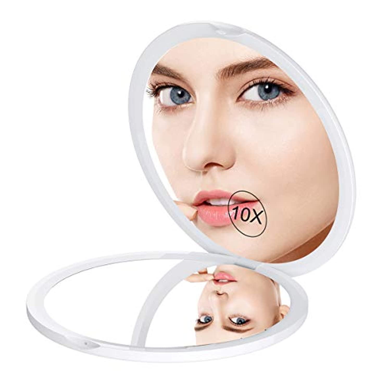 雇用者増強する遅滞ミラー 鏡 10倍拡大鏡付 両面コンパクトミラー 拡大ミラー 両面化粧鏡 コンパクト拡大ミラー メイクミラー 携帯ミラー 両面鏡 折りたたみミラー 角度調整可 ホワイト Gospire