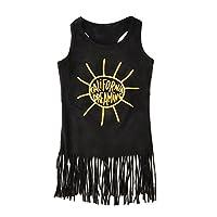 杜屋トヤ 子供服 夏の女の赤ちゃんのかわいいブラックノースリーブドレス 子供プリントワンピース ガールズスカート 洋式夏服 5サイズ (80, 黒)