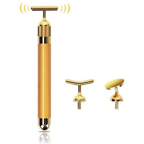 24K ビューティーバー Beauty Bar 黄金棒 ビューティースティック 超音波美顔器 フェイスケア ビューティーローラー エネルギービューティー ミニ顔マッサージ 美肌 約7500回転/分微振動 防水電動式 ヘッド交換可能 1台3役
