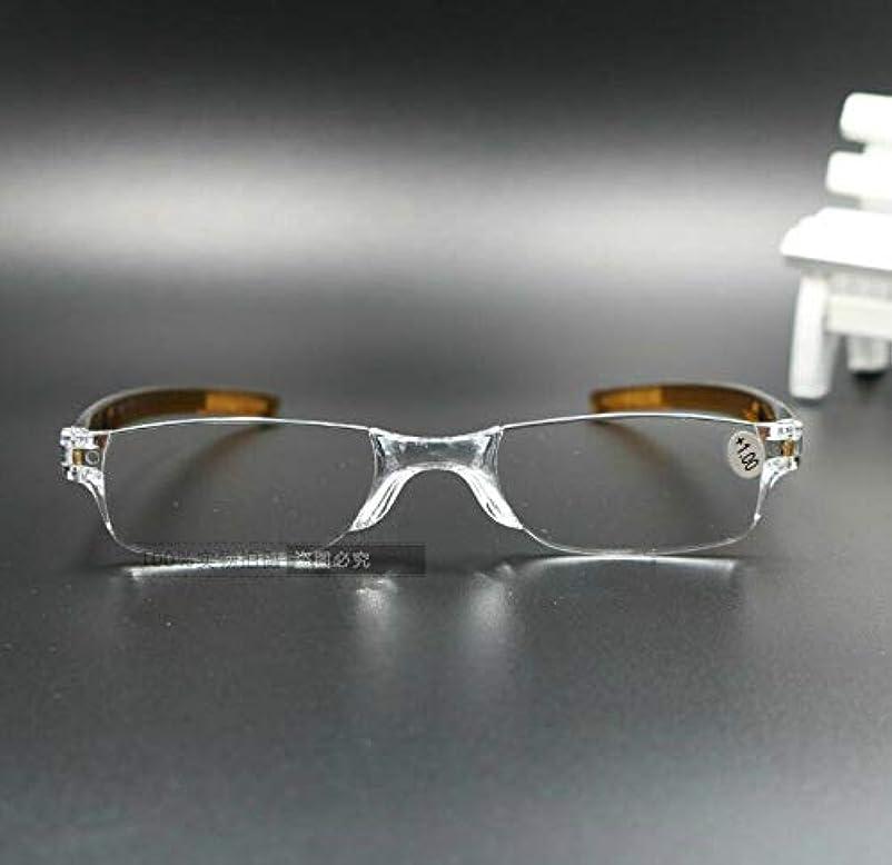 規模読書をする歌うFidgetGear 携帯用縁なし老眼鏡リーダー眼鏡+1.0 1.5 2.0 2.5 3.0 3.5 4.0 褐色