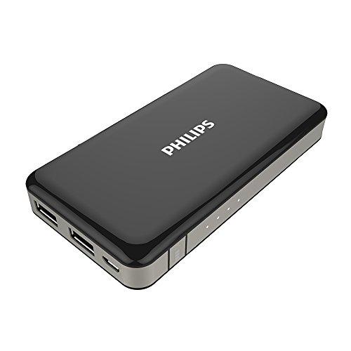PHILIPS 8000mAh 2ポート 大容量 モバイルバッテリー 2台同時給電可能 DLP6080 (ブラック)