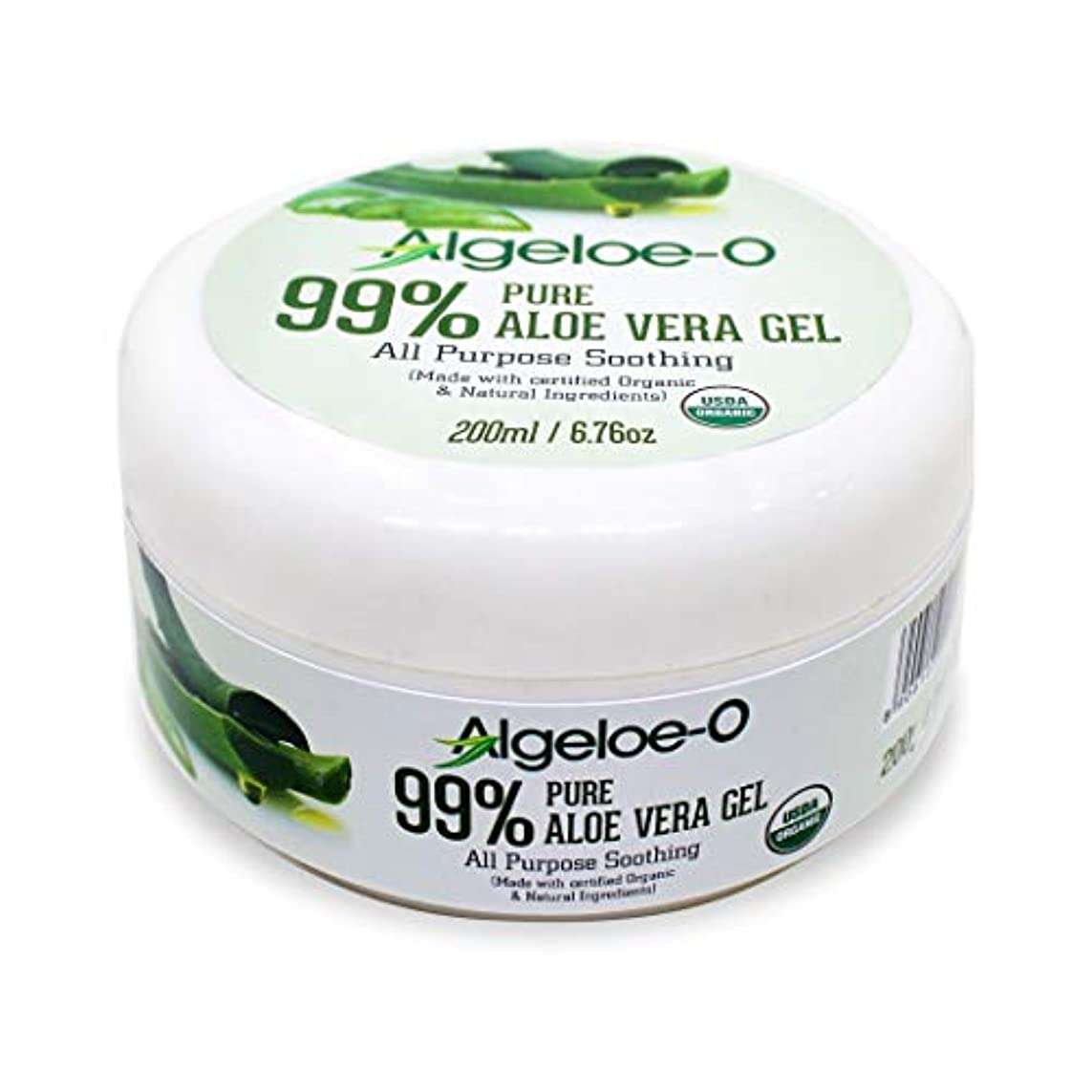 ラフ睡眠法令削減Algeloe-O  Organic Aloe Vera Gel 99% Pure Natural made with USDA Certified Aloe Vera Powder Paraben, sulfate free with no added color 200ml/6.76oz.
