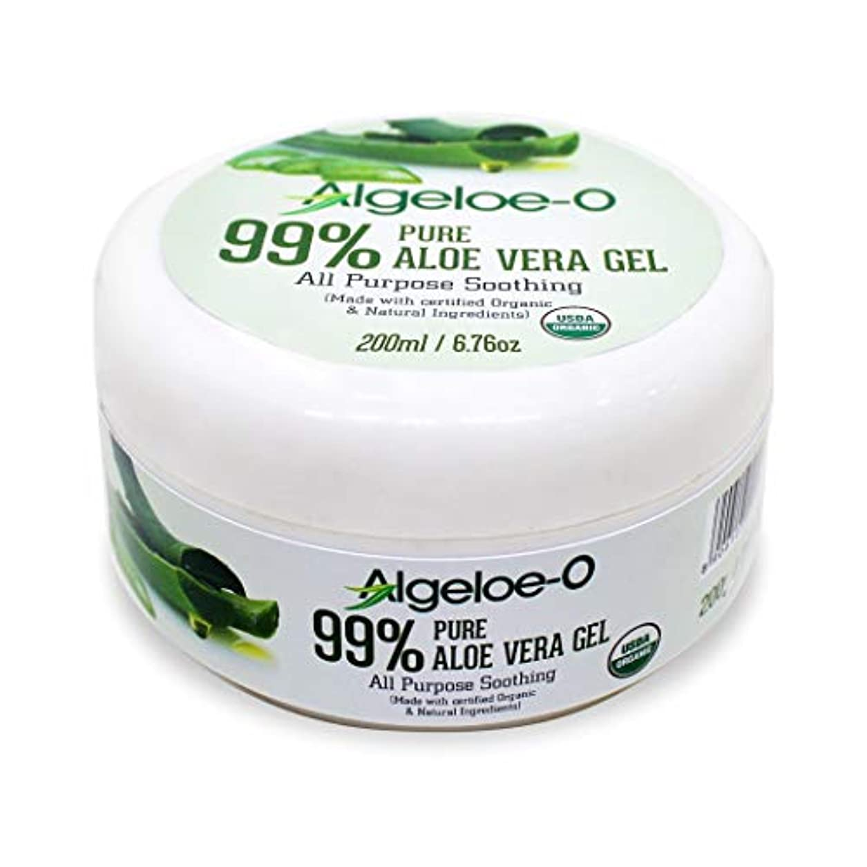三角涙が出る貫通するAlgeloe-O  Organic Aloe Vera Gel 99% Pure Natural made with USDA Certified Aloe Vera Powder Paraben, sulfate free with no added color 200ml/6.76oz.