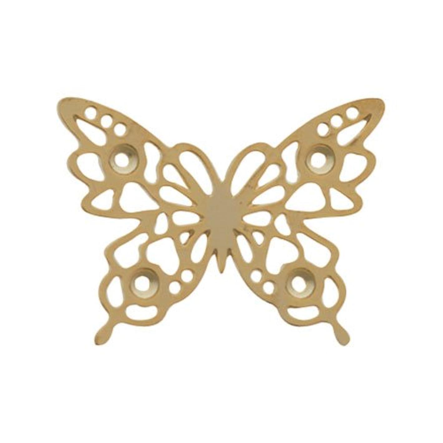 時計回り論争応用リトルプリティー ネイルアートパーツ チョウレースM ゴールド 10個