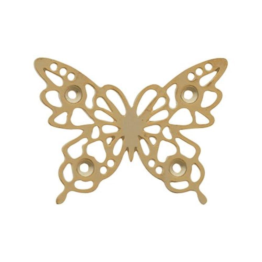 ヘルパー安全でない透けるリトルプリティー ネイルアートパーツ チョウレースM ゴールド 10個