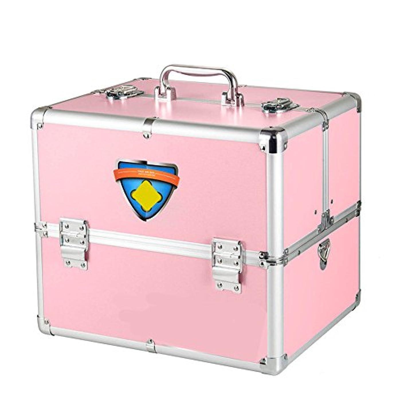 ひどく温室ハイライト応急処置キット 医療旅行や家庭旅行や職場でのコンテナのためのロック可能な2階建て応急処置キット ストレージ救急用品 (Color : Pink)