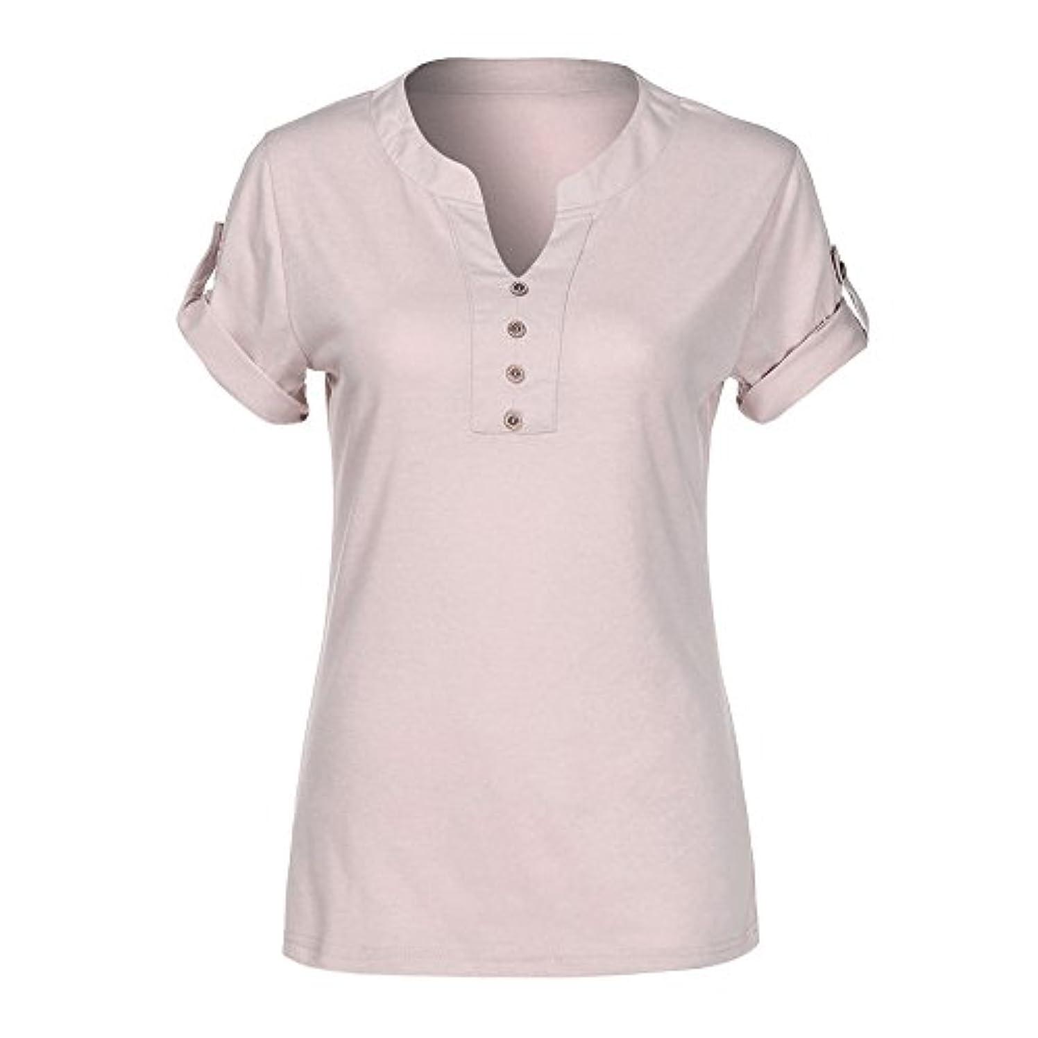 誘導ゴミ箱付録上着 レディース BOBOGOJP 女性 シンプル風 ボタン 半袖 tシャツ V-ネックシャツ トップス カジュアル ファッション T-Shirt 着痩せ 柔らかい 夏 春 秋 Tシャツ 通勤 通学 日常 プルオーバー