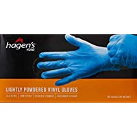 Hagen's VG6B Lightly Powdered Blue Vinyl Gloves, L, 100ct