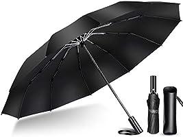 【2020年強化版 12本骨】 折りたたみ傘 自動開閉 軽量 折り畳み傘 メンズ 大きい 晴雨兼用 臺風対応 梅雨対策 大きい 超撥水 おりたたみ傘 210T高強度グラスファイバー 収納ポーチ付き