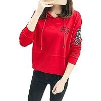 (シンイ)Xin Yi レディース トレーナー パーカー スウェット トップス 文字柄 長袖 薄手 ゆったり おしゃれ シンプル レッド XL