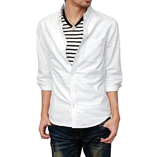 (ハイクオリティプロダクト) High quality product メンズ オックスフォード7分袖シャツ 無地 ストライプ コットンシャツ 綿シャツ カラーシャツ ボタンダウン BD OXシャツ ホワイト Mサイズ