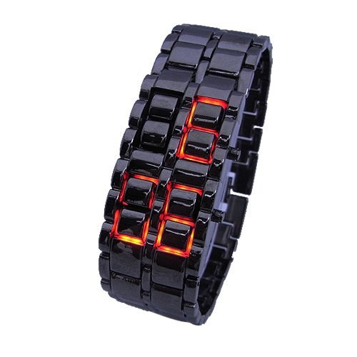 Iron FacelessレッドバイナリLED Wrist Watch for Man Black – JUST ARRIVE 。