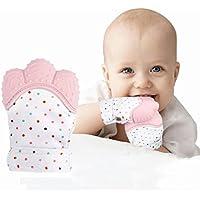 RonXer 赤ちゃん 歯固め 用指しゃぶり防止手袋 食品級シリコン ベビー用手袋 おもちゃ(ピンク)
