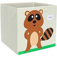 Piccocasa折りたたみ式おもちゃストレージビンSquare Cartoon Animalストレージボックス環境に優しいファブリックストレージキューブオーガナイザーの寝室、プレイルーム、NO蓋ブラウンRaccoonパターン13