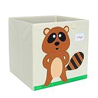 uxcell 収納箱 折り畳み式 おもちゃ ストレージビン カートゥーン 箱 段ボール 蓋なし ブラウンアライグマ 33x33x33cm