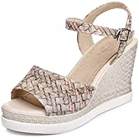 Summer Fine Braided Slope and Thick Platform Waterproof Sandals (Color : Cream-Coloured, Size : 36EU)