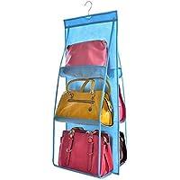 Pawaca かばん収納袋 掛け式 かばん 整理 収納ケース 収納ラック 両面3段式 6個収納可 折り畳み(ブルー)