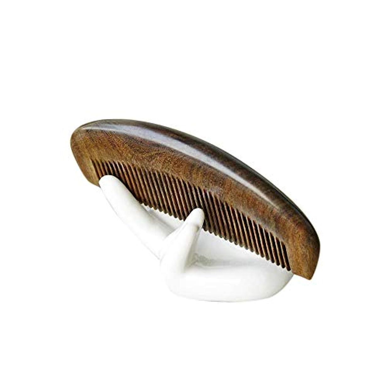 闘争関連付けるコンドームFashianナチュラルサンダルウッドコーム - 手作りの木製ハーフムーンの形ワイド歯カーリーヘアくし ヘアケア (色 : Photo color)