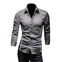 cheelot メンズリラックスピュアカラーコットンロングスリーブボタンスリムフィットTシャツ Grey L