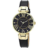 Anne Klein Women's AK/1396BMBK Gold-Tone Black Mother-Of-Pearl Dial Leather Croco-Grain Strap Watch